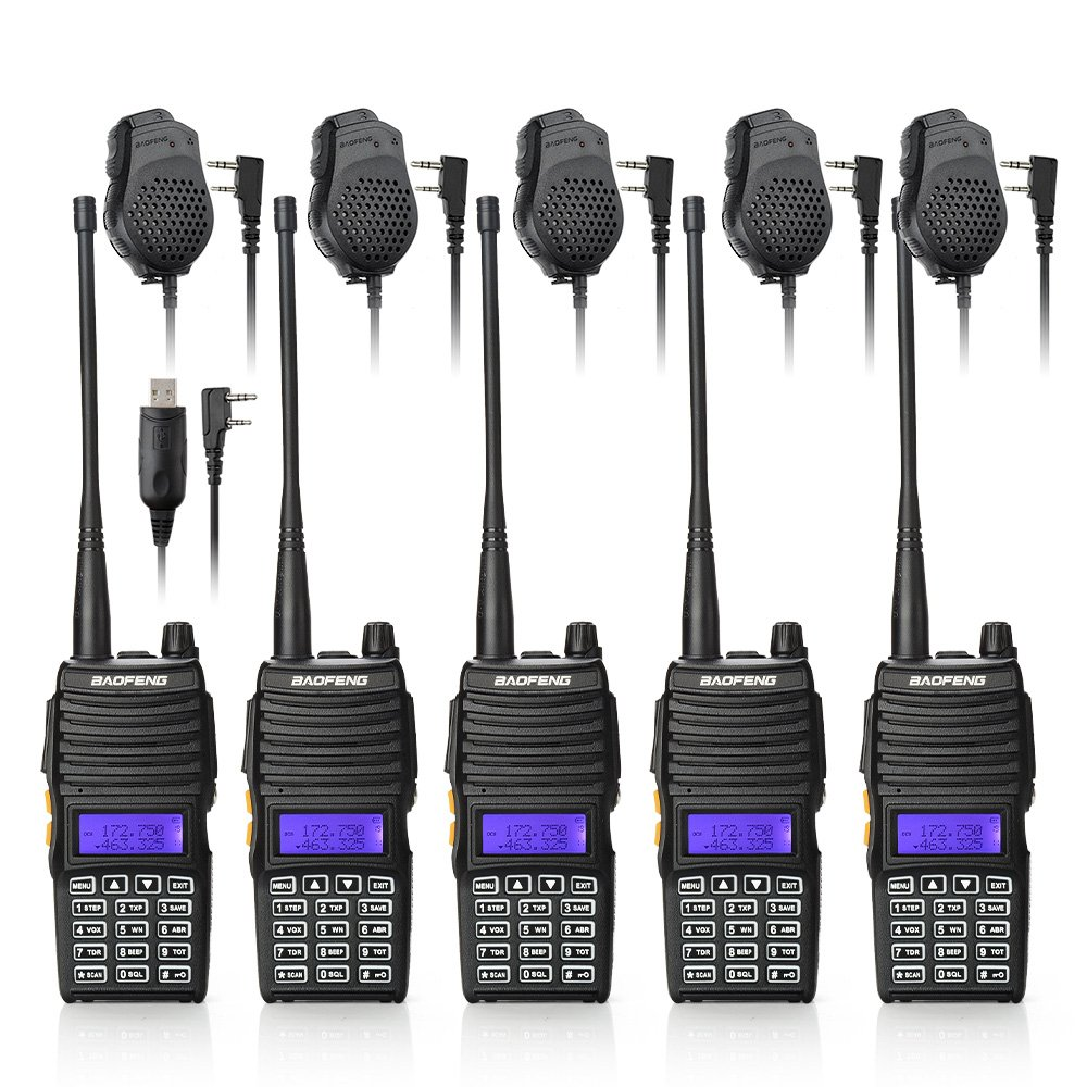 Baofeng 5PCS UV-5X Mate Handheld Two-way radio VHF136-174MHz UHF400-520MHz Dual Display Standby Transceiver Walkie Talkie with 5xMic+Tokmate Programming Cable
