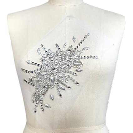 55f9c2ea35 Sparkle Elegant Handcrafted Crystals Rhinestones Sew on Applique Bridal  Belt Wedding Beaded Patch DIY for Dress Decoration 6.3x11 ' (Silver)