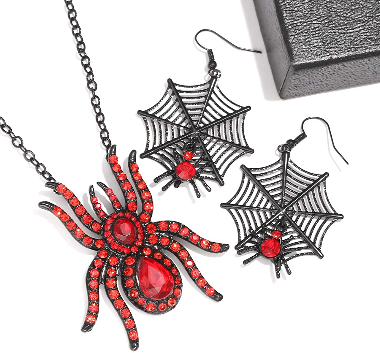 MOLOCH Halloween Spider Jewelry Set Crystal Tarantula Pendant Necklaces Spider Web Dangle Earrings Set Halloween Party Costume Jewelry for Women
