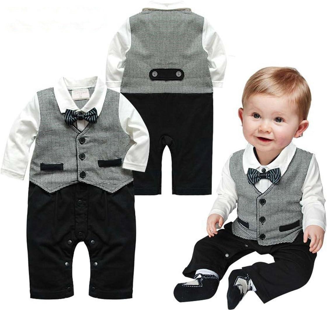 Bebé Pelele de moda caballero manga larga Niños Ropa babysuits chaleco de una pieza trajes para bebé gris Talla:0-6 meses: Amazon.es: Bebé