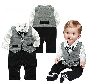f17c00405 Baby Boy Fashion Romper Gentleman Long Sleeve Kids Clothes Babysuits ...