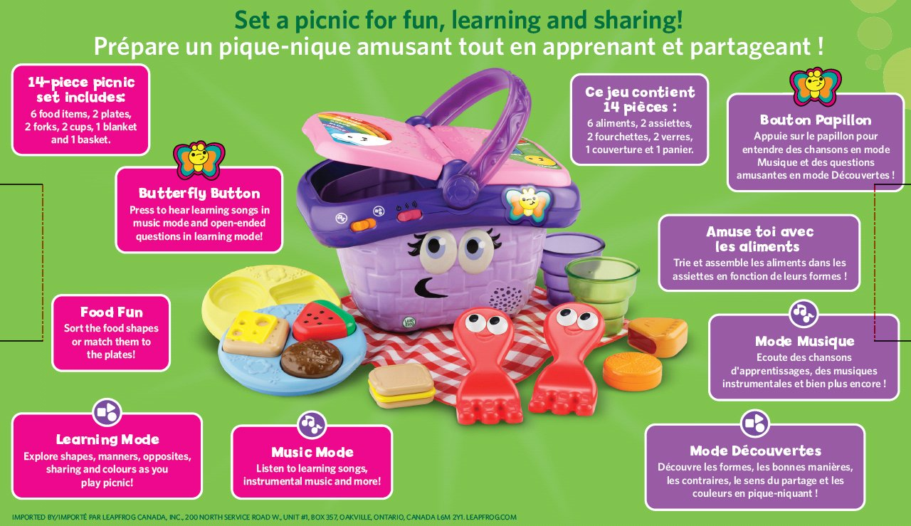 Leapfrog Shapes And Sharing Picnic Basket French Version Vtech