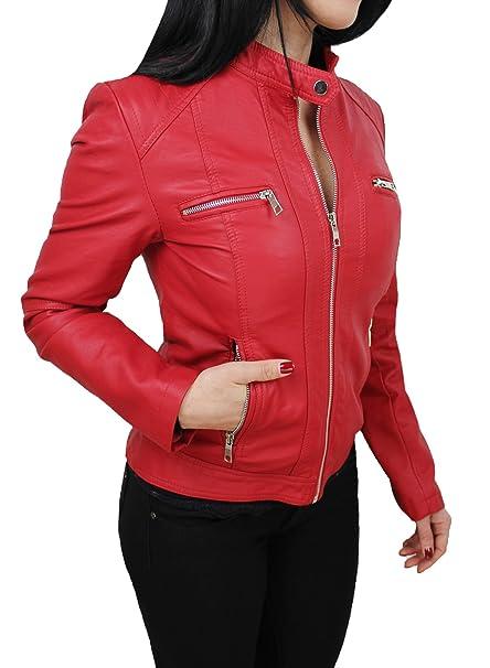 6faddb2bf6 Giubbotto giacca donna ecopelle rosso giubbino giacchetto casual ...