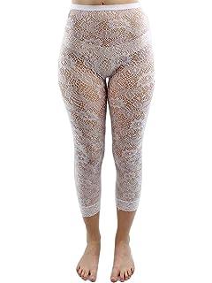 9d29041002691 Beau Corner Women's Floral Rosa Sheer Lace Leggings White at Amazon ...