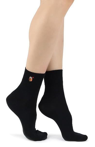 Mixmi Boutique Búho bordado negro de las mujeres con calcetines rojos del patrón del corazón