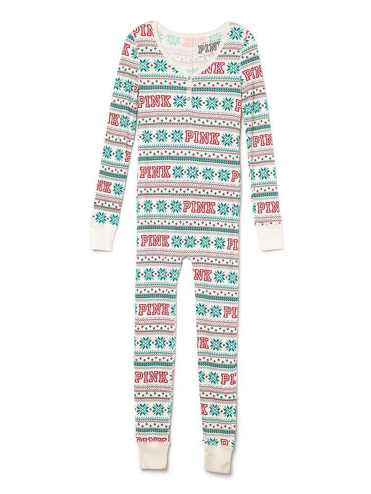 Victoria's Secret PINK Onesie Pajamas Christmas Snow Large