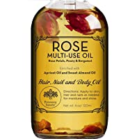 Rose Multi-Use Oil for Face, Body and Hair - Organic Blend of Apricot, Vitamin E...