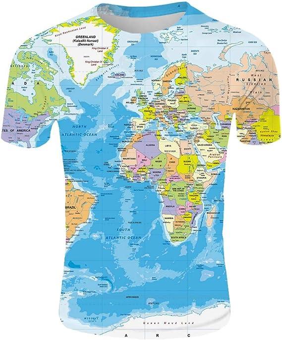 AG&T 2019 Nuevos Hombres Moda 3D Mapa Mundial Impreso ...