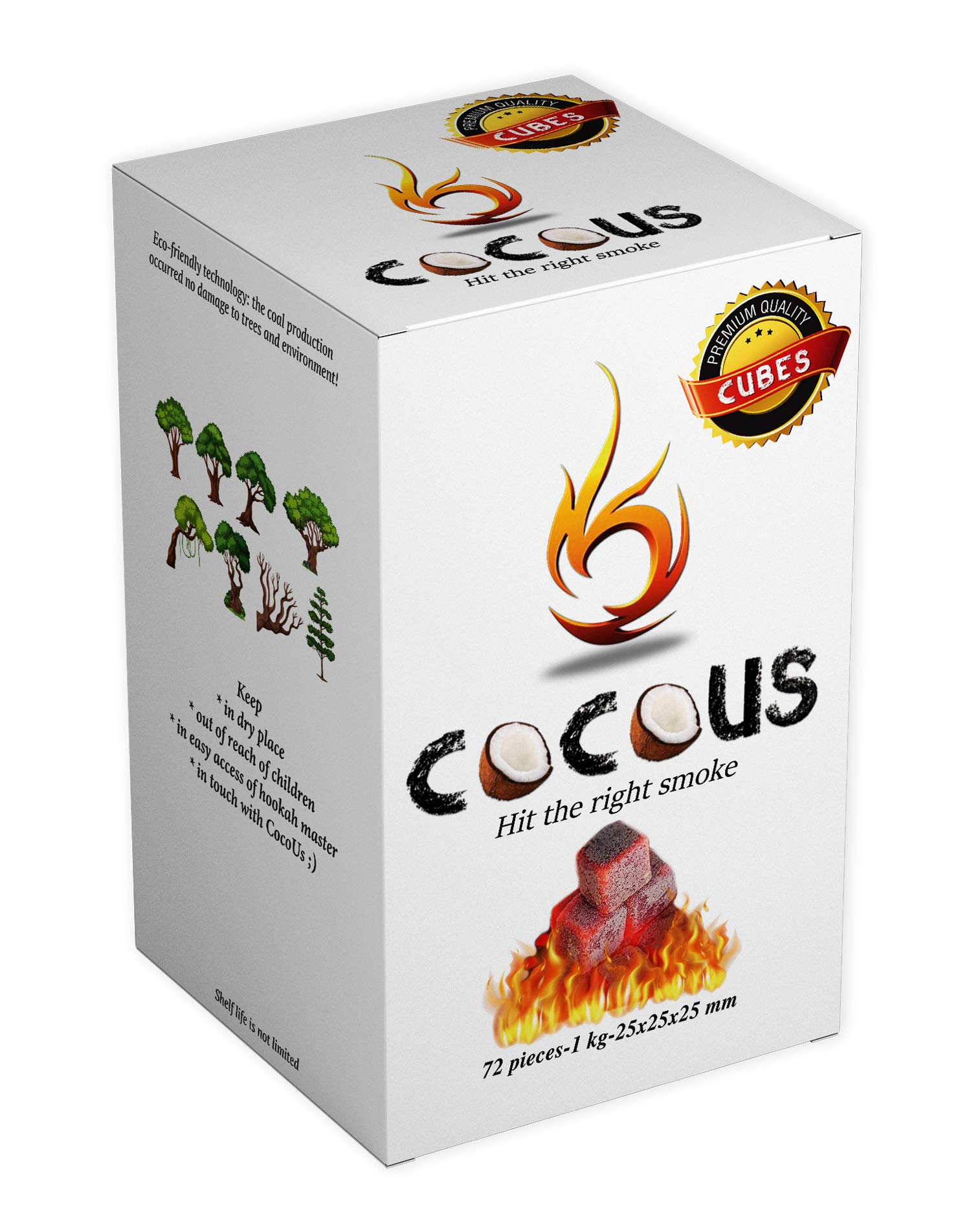 Cocous Natural Coconut Charcoal Incense Hookah Shisha Narguile Coal Coconut Shell Briquette Coals 1KG-72 Pieces 25mm Cubes