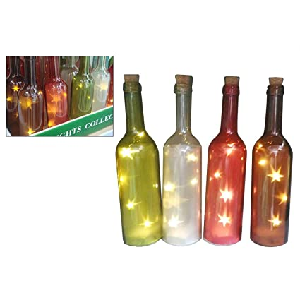 REVIMPORT 02/1259 x6-Botellas de vidrio coloreado X 4 lámparas con LED *