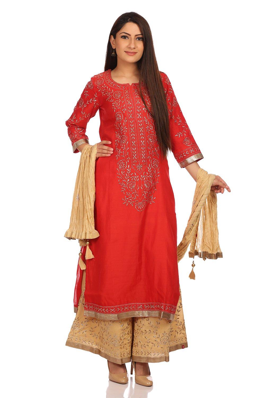 BIBA Women's Straight Poly Cotton Straight Round Neck Suit Set 36 Red