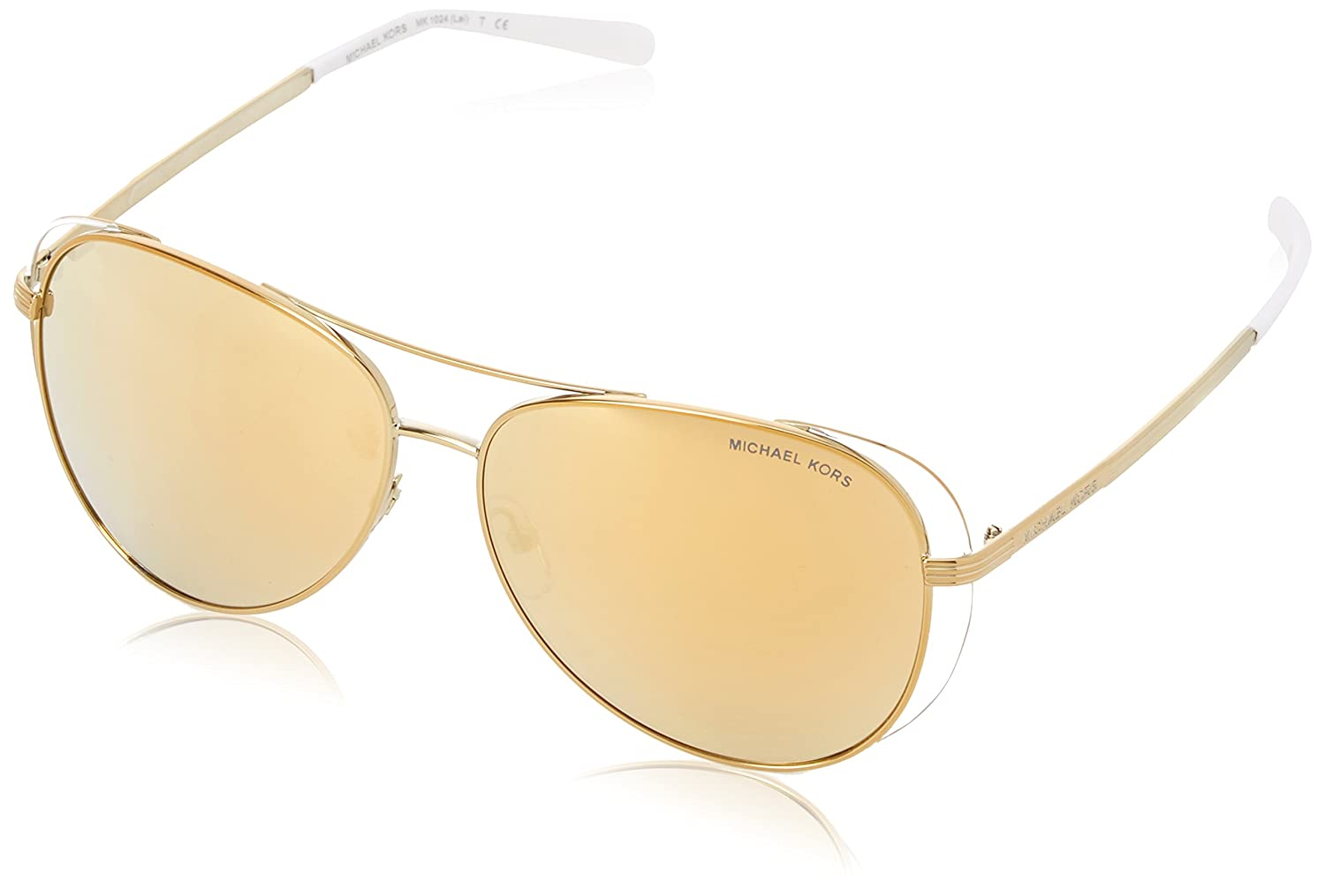 cce17ff99de Michael Kors MK1024 11927P Pale Gold White MK1024 Pilot Sunglasses Lens  Categor at Amazon Women s Clothing store