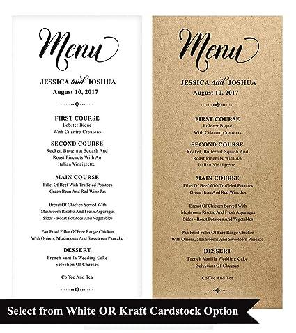 3af706f84f837 20 Personalized Wedding Menu Cards (9x4 Inches) Custom Rustic Dinner Menu  Prints - Kraft