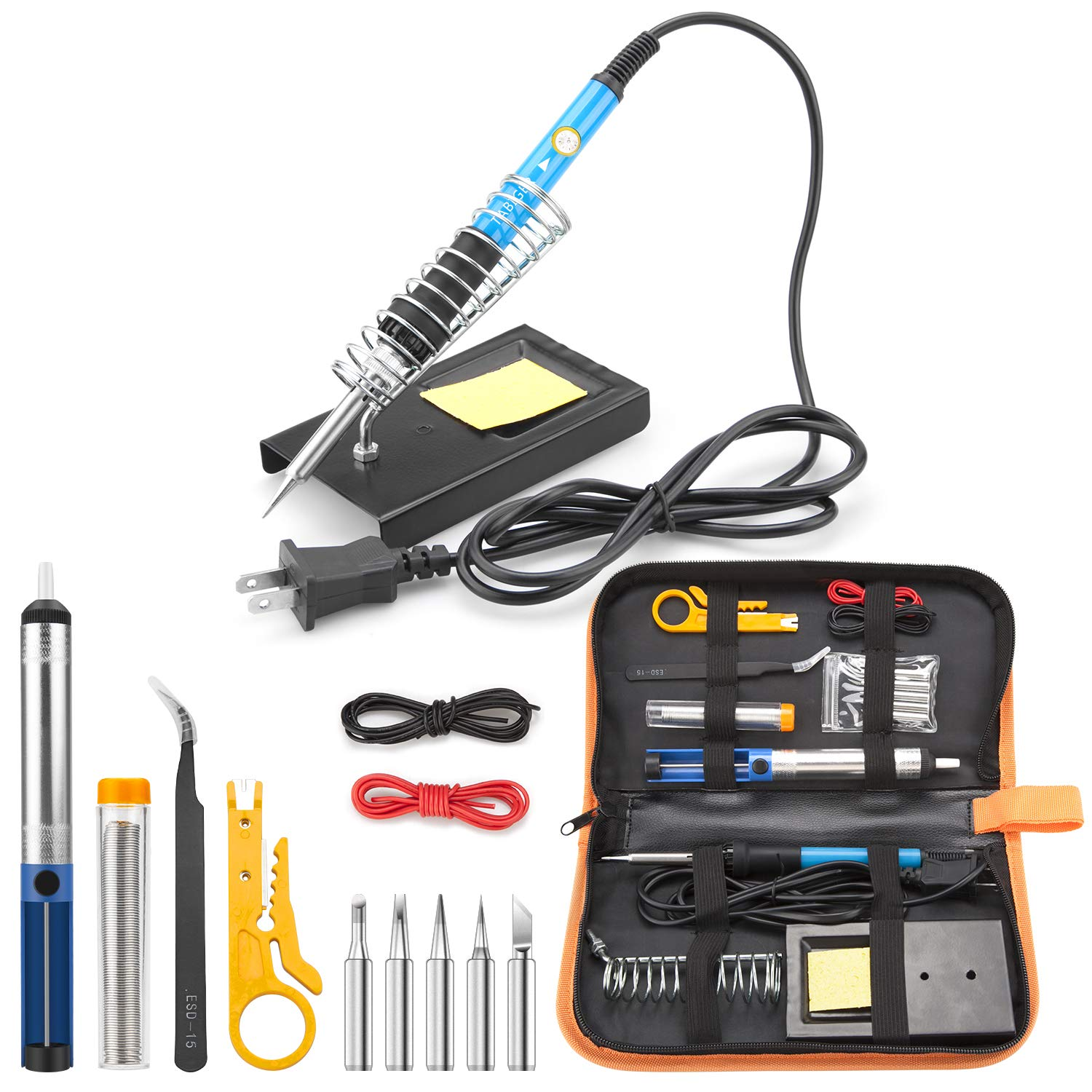 Tabiger Soldering Iron Kit 15-in-1, 60W Soldering Iron with Adjustable Temperature, Soldering Gun, 5pcs Soldering Iron Tips, Solder Wire, Desoldering Pump, Tweezer, Soldering Stand, Tool Case by Tabiger