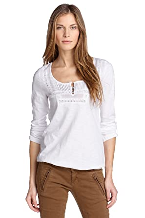 27f9863de39746 edc by Esprit Women's T-Shirt 121CC1 K035 - White - X-Small: Amazon ...