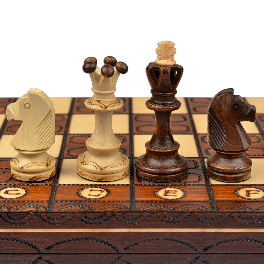 Handmade european wooden chess set with inch board and