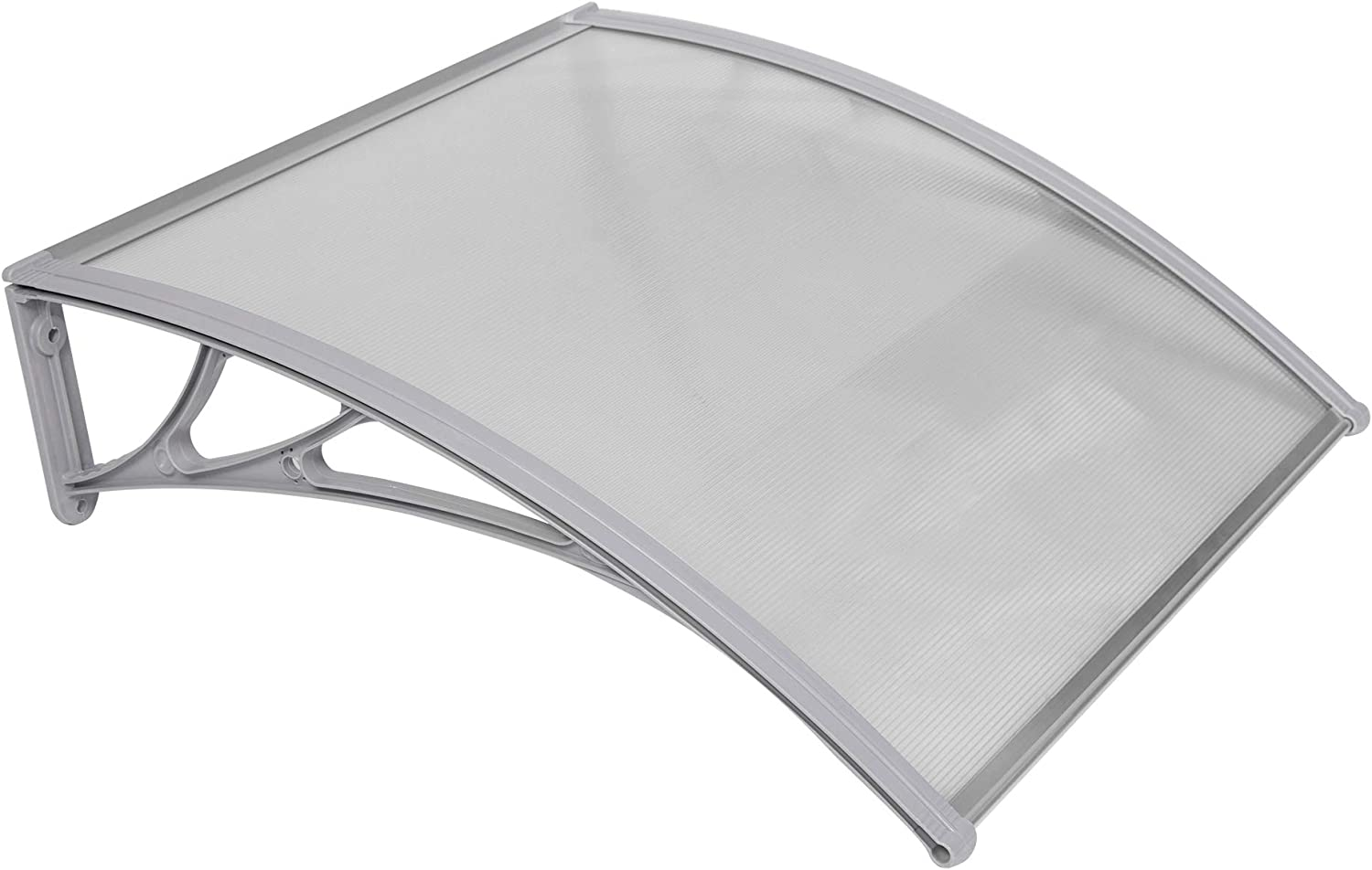 Vilobos Window Door Awning Cover UV Rain Snow Protection One-Piece Polycarbonate Hollow Sheet 40 x 40 Gray