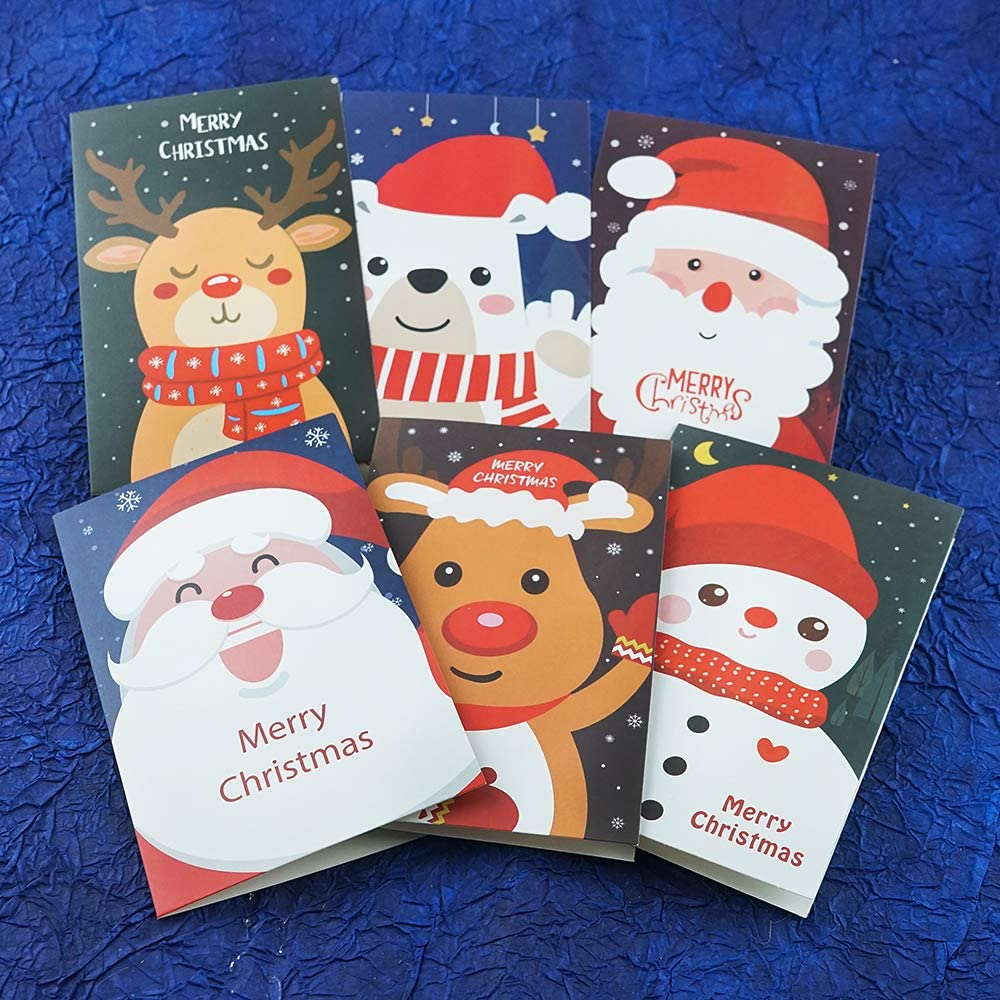 AMOR SPES Christmas Cards Assortment 6pcs Happy Holiday Greeting Cards with Envelopes Cute Festival Holiday Cards Xmas Happy New Year Greeting Cards