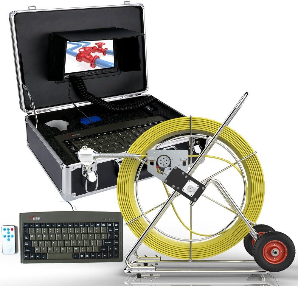 7インチ80メートル下水道防水カメラパイプパイプラインドレイン検査システム液晶dvr付き長さカウンター&キーボード