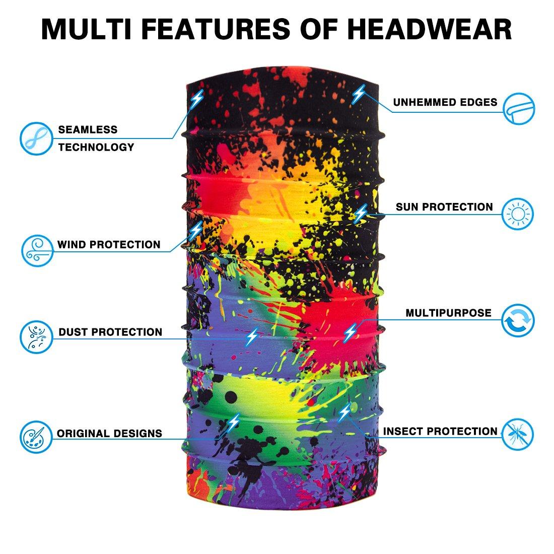 TUONROAD 3D Printed Colorful Paint Tie-Dye Black Seamless Hot Bandana Headband Mask Sweatband Lady MensMultifunctional Headwear Head Wrap Neck Gaiter Face Sun Mask for Cycling Fishing Hunting