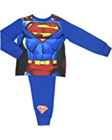 Boys Superman Pyjamas with Detachable Cape - Ages 2-8 Years