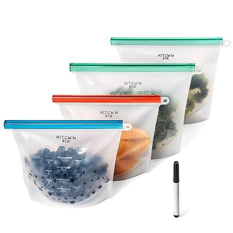 Amazon.com: Bolsas de almacenamiento reutilizables de ...