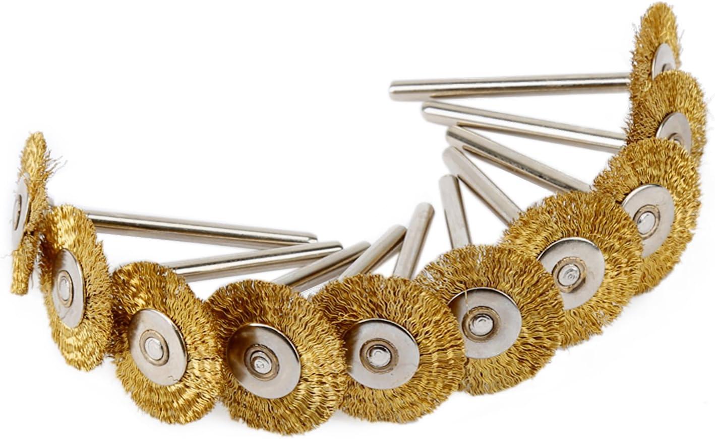 10pcs 22mm Laiton Fil Roue Brosses Outil de polissage pour Grinder Die Rotary