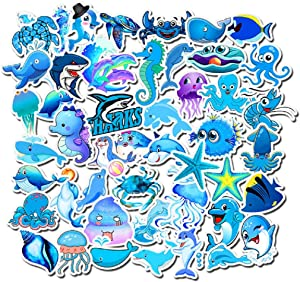 BONANA Marine Animals Stickers Shark Dolphin Acaleph Cartoon Graffiti Decal for Laptop Water Bottles Car Refrigerator Skateboard Helmet Luggage Bicycle