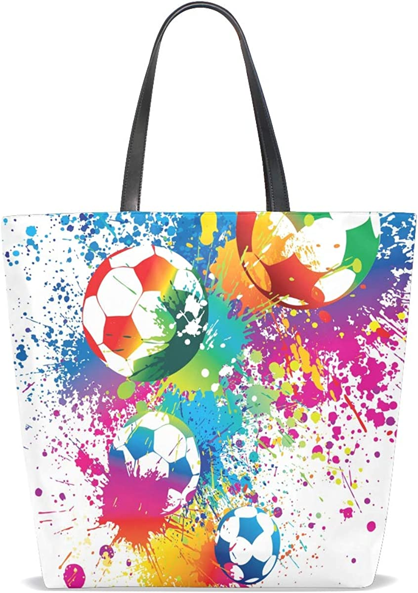 Tote Bag for Women Handbag Abstract Rainbow Game Football Sport Leather Purse Crossbody Vintage Picture