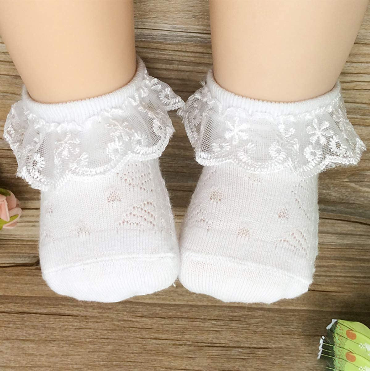 Adorel Baby Girls Lace Ankle Socks Mesh Pack of 6