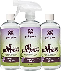 Grab Green Natural All Purpose Cleaner Spray, Biodegradable, Residue & Streak-Free Finish, Thyme with Fig Leaf, 16 Ounce Bottle (3-Pack),