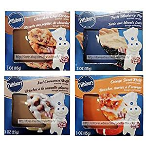 Eclectic Blackbird Pillsbury Scented Candles Set - Fresh Blueberry Pie, Apple Cinnamon Pie, Iced Cinnamon Rolls and Chocolate Cookies, 4 Candles