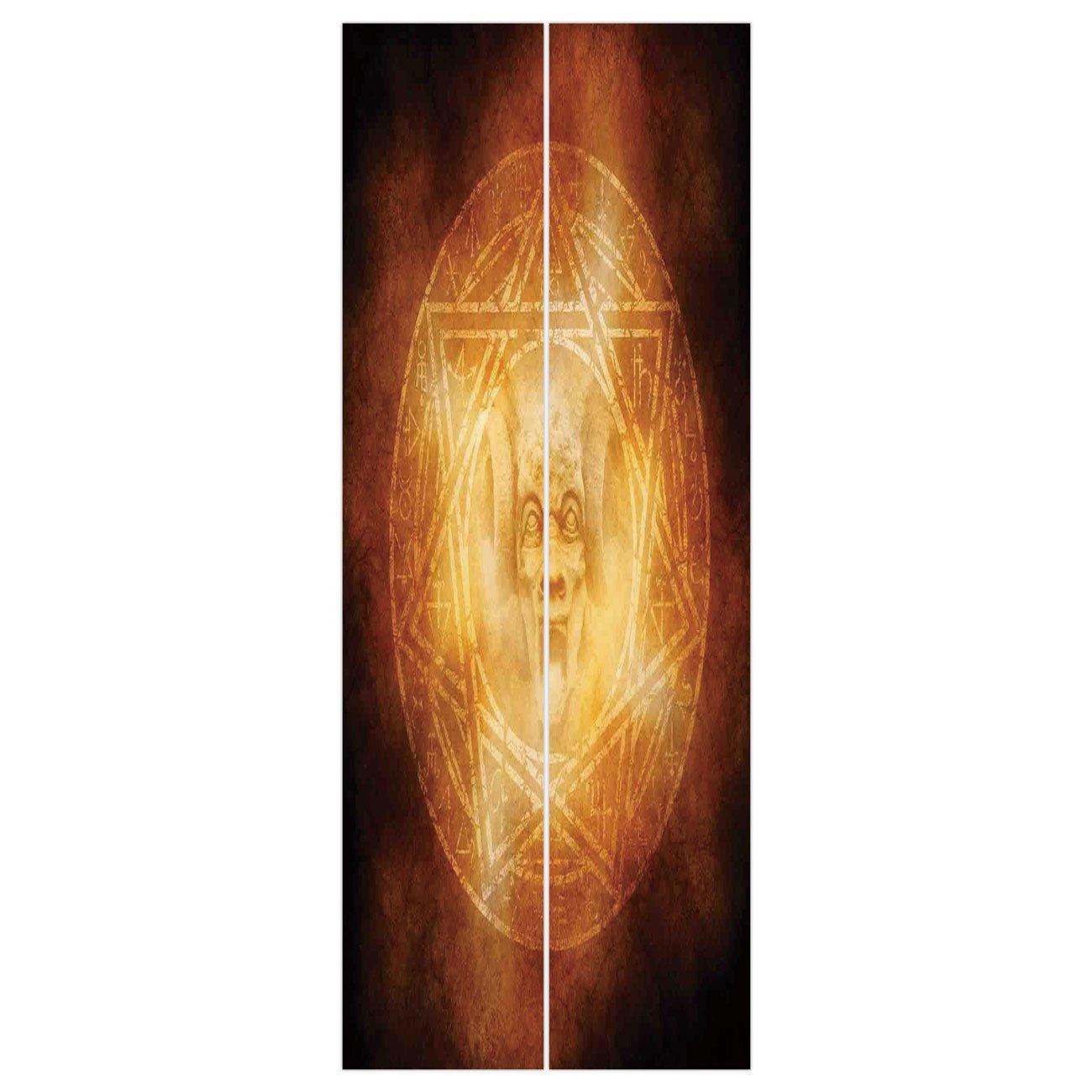 3d Door Wall Mural Wallpaper Stickers [ Horror House Decor,Demon Trap Symbol Logo Ceremony Creepy Ritual Fantasy Paranormal Design,Orange ] Mural Door Wall Stickers Wallpaper Mural DIY Home Decor
