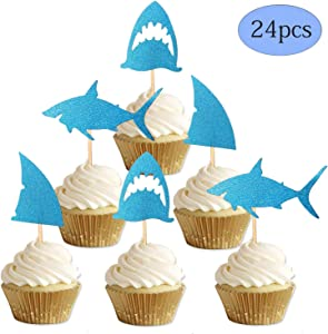 ALISSAR 24-Pack Glitter Shark Cupcake Toppers, Shark Fin Cupcake Toppers, Shark Themed Party Supplies Decorations Kids Baby Shower Birthday Favor.