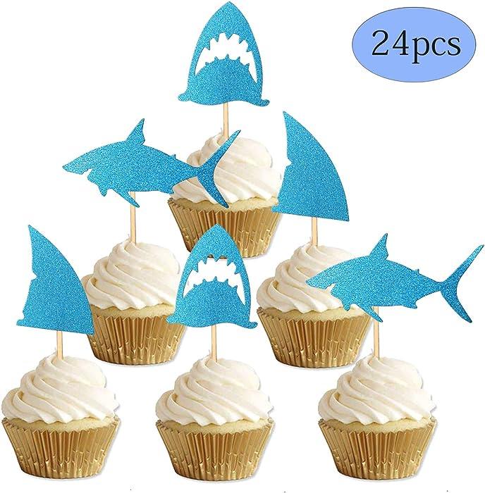 ALISSAR 24-Pack Glitter Shark Cupcake Toppers, Shark Fin Cupcake Toppers, Shark Themed Party Supplies Decorations Kids Baby Shower Birthday Favor.