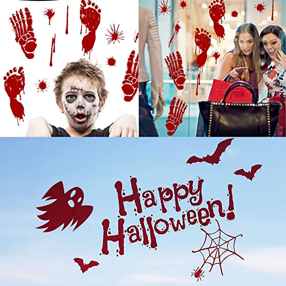 V-RULE Set di Decorazioni per Halloween - Halloween Zombie Scars Adesivi per  Tatuaggi - Ragnatele Decorative - Decalcomania Rosso Mani Insanguinate ... fa3daa70354b