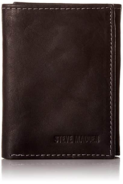 Steve Madden Mens RFID Leather Trifold Wallet, Black (Antique), One Size