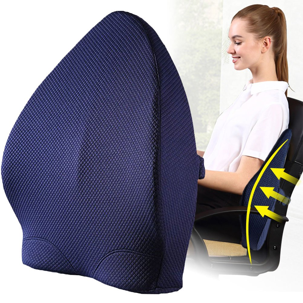 Lumbar Support Pillow Orthopedic Design for Back Pain Relief,Lumbar Support Back Cushion with Premium Adjustable Strap and Washable Cover for Easy Posture in the Car, Office or Home Chair Plane