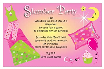 10 Personalised Sleepover Slumber Party Invitations N45 Amazonco