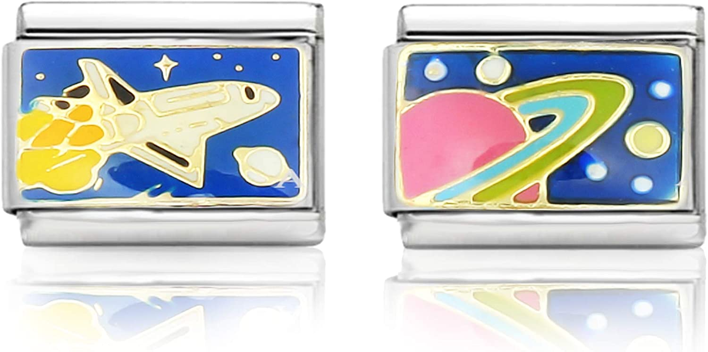 in Edestahl f/ür Italia Charm Basis-Armband Kult Glider Schmuck Classic Italy AKKi jewelry Damen Italian Charms 2er Set