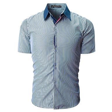 462b2013a5027 POachers Homme Chemise Slim Fit Manche Courte Ete Rayée Chemises pour Hommes  Chic Mince Casual Affaire