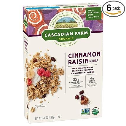 Cascadian Farm Organic Granola, Cereal de canela Raisin, 40 ...