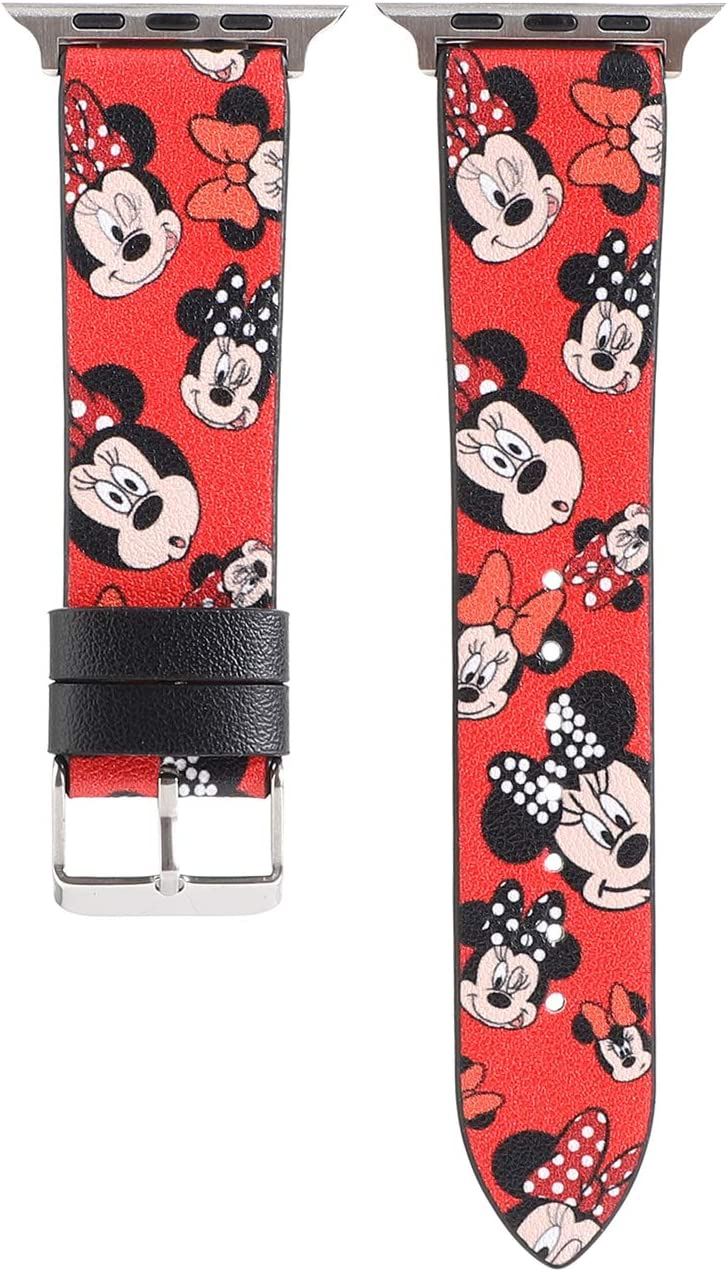 Cartoon Leather Watch Bands Strap Girls Boys Lovely Replacement Wristband Bracelet Compatible with Apple Watch SE/Series 6 5 4 40mm and Series 3 2 1 38mm, Red