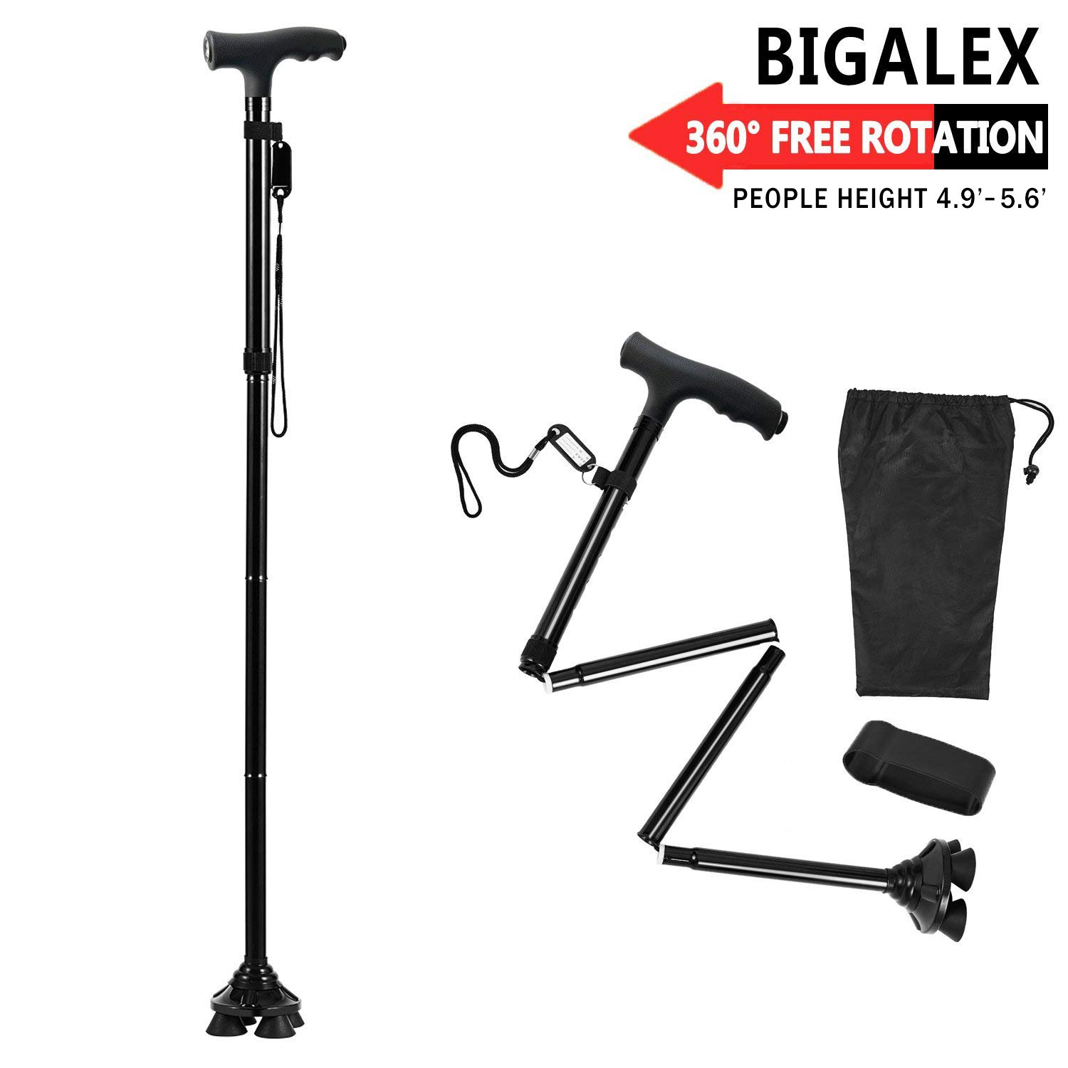 BigAlex Folding Walking Cane with LED Light,Adjustable & Portable Walking Stick, Lightweight,Collapsible with Carrying Bag for Men/Woman(Short)