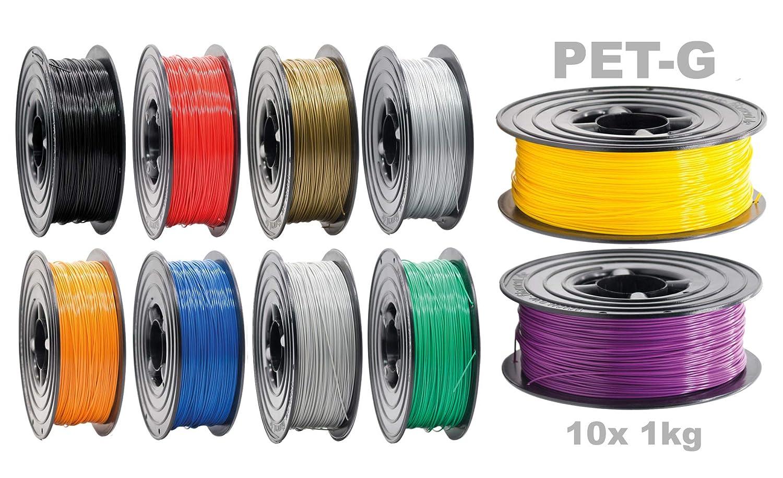 Filamento PETG para impresora 3D, 1,75 mm, 10 unidades (10 kg ...