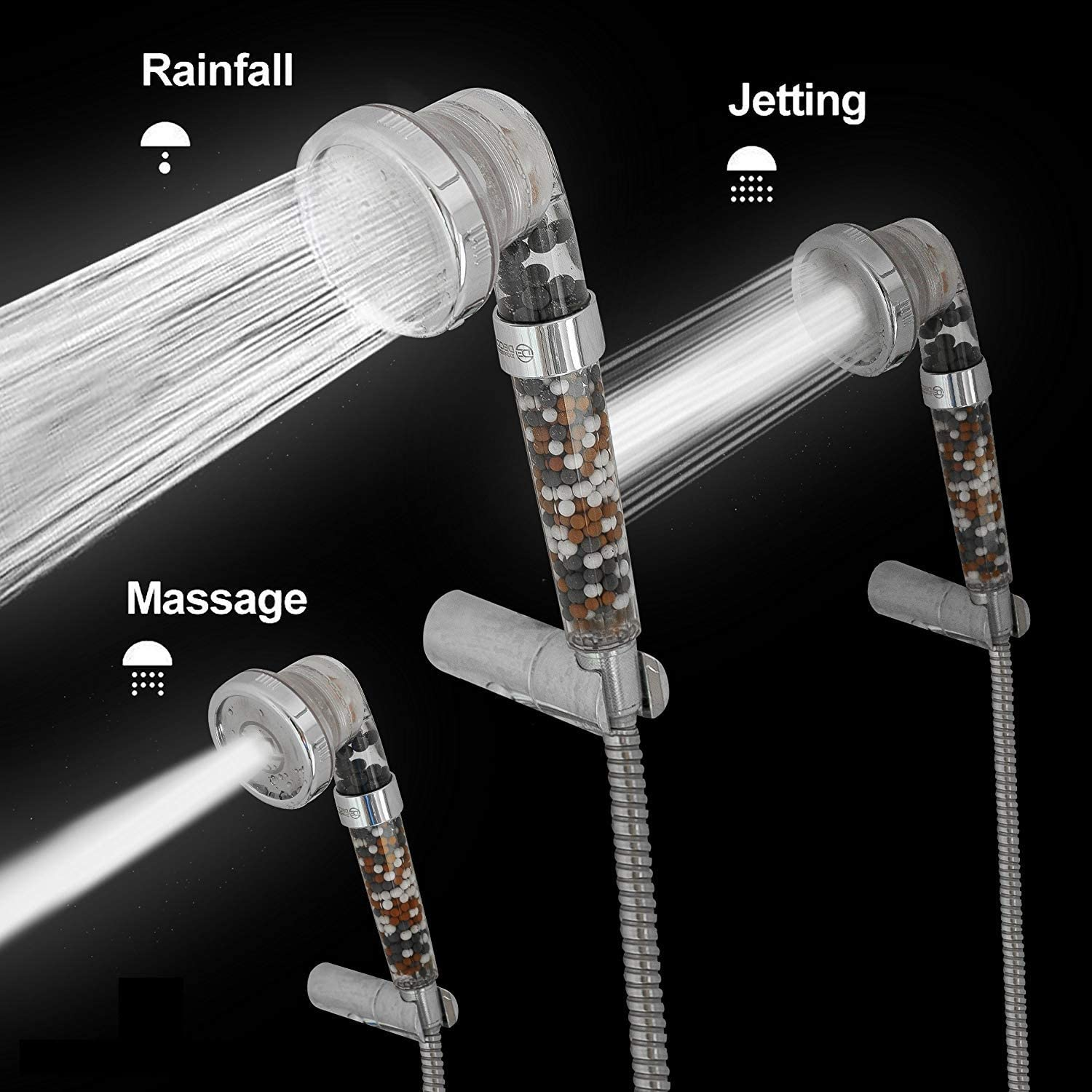 3 In 1 High Pressure Ionic Shower Head Protect Purify Massage
