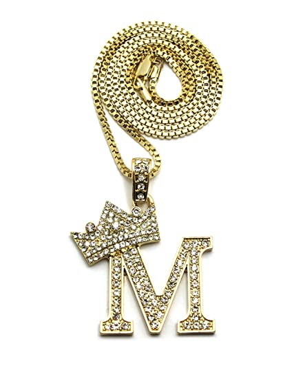 Iced out king crown alphabet m pendant 24 various chain necklace in iced out king crown alphabet m pendant 24quot various chain necklace in gold silver aloadofball Image collections