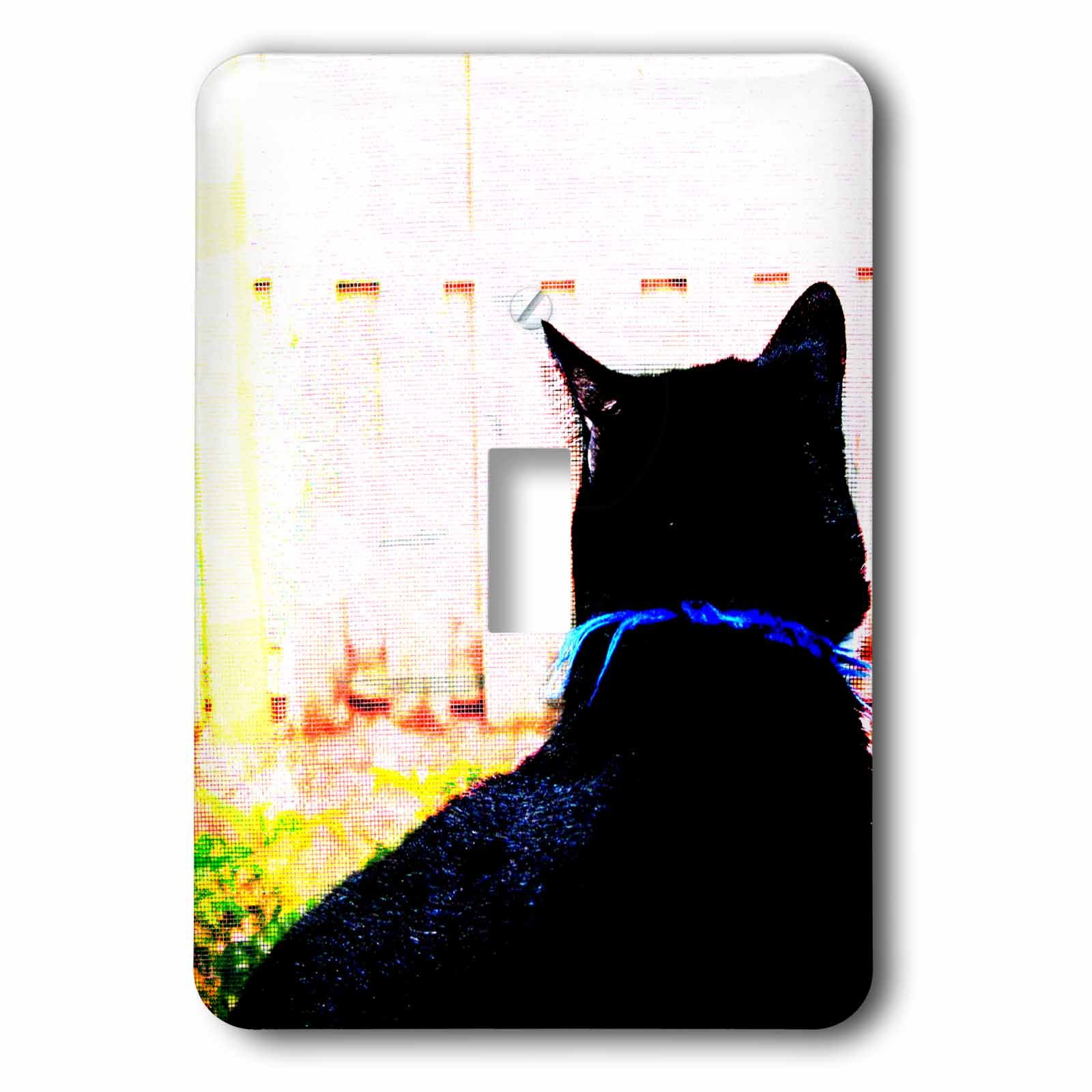 3dRose LLC 3dRose LLC lsp_155949_1 Black cat from behind animal looking out window - Single Toggle Switch