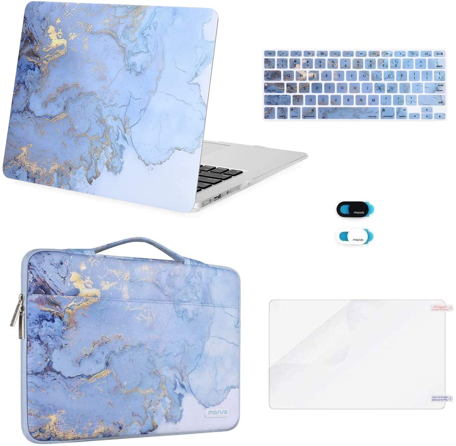 MOSISO Compatible with MacBook Air 13 inch Case (A1369 A1466, Older Version 2010-2017 Release), Plastic Watercolor Marble Hard Shell&Sleeve Bag&Keyboard Cover&Webcam Cover&Screen Protector, Blue