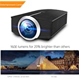 Video Projector, MEER 1600 Lumens 130'' Wide Screen LED Portable Projector with Built-in Speaker, for Home Entertainment Outside Movies Games Support iPad/iPhone